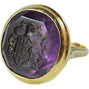 Georgian Ring Georgian Jewelry Antique Signet Ring Pre Victorian Ring Amethyst Men's Intaglio Ring Intaglio Jewelry 18th Century Fine Seal Ring Unisex Antique Merchants Family Crest Handmade 14K Gold Ring