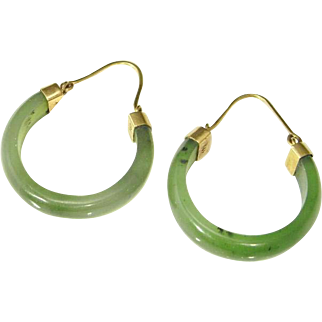 Jade Hoop Earrings Green Jade Earrings Nephrite Jade 14K Gold Hoops 14K Gold Hoop Earrings Minimalist Jewelry Dainty Jewelry Jade Cabochon 1950s 1960s Drop Dangle Hand Carved