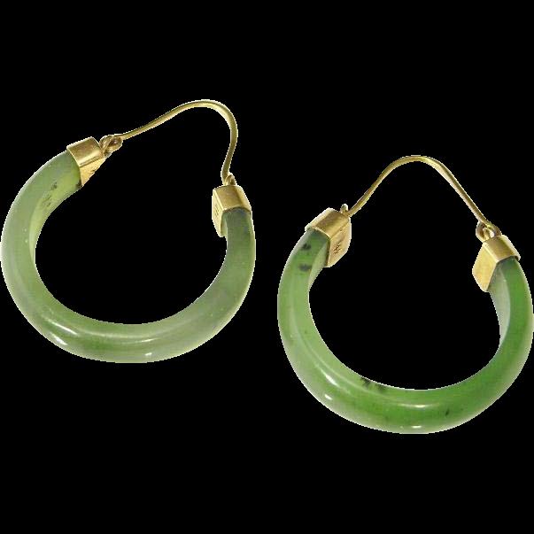 Jade Hoop Earrings Green Nephrite 14k Gold Hoops The Genuine Article Jewelry Ruby Lane