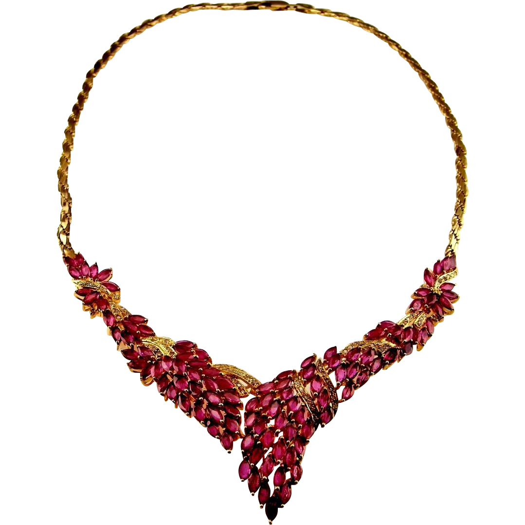 ruby necklace ruby necklace italy 14k gold