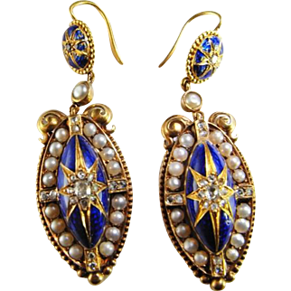 Victorian Earrings Rose Cut Diamond Pendant Drop Earrings Dangle Natural Pearls Seed Pearls Blue Enamel Wedding Jewelry Bridal Earrings Wedding Earrings Antique Post Georgian 18K Gold 19th Century Museum Quality Handmade Heirloom Jewels