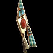 BOYD TSOSIE Navajo Pendant Navajo Jewelry Tassel Pendant Native American Pendant American Indian Pendant 14K Gold Pendant Geometric Pendant Old Pawn Artisan Heirloom Mens Womens Unisex Inlay Red Coral Cabochon Modernist Studio Artisan Mid Century