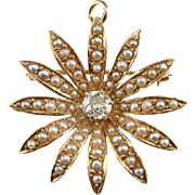 Diamond Pendant Necklace Edwardian Jewelry Seed Pearl Jewelry Antique Diamond Necklace Old European Cut Diamond Wedding Jewelry Bridal 14K Gold Old Cut 1910 Belle Epoque Daisy Floral Flower Snowflake Antique