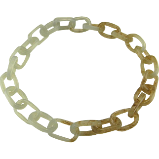 Antique Jade Jewelry Nephrite Jade Jewelry Jade Anklet or Jade Bracelet Antique Chinese Jewelry Antique Chinese Jade Jewelry One of a Kind Mens Bracelet Bangle Qing Dynasty Hand Carved Chain