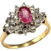 Padparadscha Sapphire Engagement Ring Pink Sapphire Ring Peach Sapphire Ring Peach Sapphire Engagement Ring Pink Engagement Ring Color Engagement Padparadscha Mid Century Cluster Solitaire Vintage Natural Unheated Oval Cut