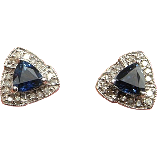 Sapphire Studs Sapphire Stud Earrings Sapphire Diamond Studs Sapphire Diamond Earrings Dainty Earrings Wedding Jewelry Bridal Earrings 14K Triangle Trillion Jewelry Estate Natural Untreated Sapphire Dark Blue