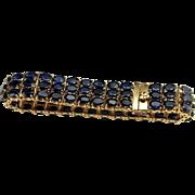Dark Blue Sapphire Bracelet Tennis Bracelet 14K Gold Bracelet Natural Sapphire Bangle Wide Bracelet Sapphire Jewelry Estate Jewelry Fine Luxury Estate Anniversary Wide Heavy Statement Navy Deep Blue