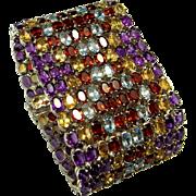 Gemstone Bracelet Gemstone Bangle Garnet Bracelet Amethyst Bracelet Aquamarine Bracelet Rainbow Bracelet Chunky Bracelet Sterling Silver 925 Statement Modernist Space Geometric Multigem Multistone Multi-Gem Multi-Stone Cuff Bracelet Wide Big