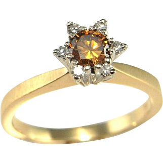 Dark Peach Color Colored Diamond Ring Color Engagement Ring Fancy Diamong Ring Orange Diamond Ring Yellow Diamond Cognac Diamond Ring Brown Diamond Ring 14K White Gold Yellow Gold Vintage Cluster Solitaire Unique One of a Kind Artisan Fancy Dainty