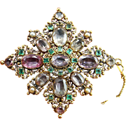 Georgian Brooch Georgian Pink Georgian Jewelry Georgian Pendant Georgian Emerald Georgian Topaz Antique Pearl Brooches 18K Gold Lace Pin Pre Victorian 18th Century Dress Gown Wedding Bridal Jewelry Natural Pearl Brooches Antique