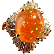 FINEST Mexican Precious Fire Opal Ring 6 carat Orange Fire Opal with Play of Color Ring Orange Opal Cabochon Jewelry Diamond Ring 14K Gold
