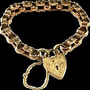 Victorian Gold Bracelet Gold Padlock Bracelet Antique Padlock Bracelet Artisan Bangle Antique Gold Jewelry Heart Bracelet Gold Clasp 9K 8K Heirloom Sentimental Romantic Anniversary