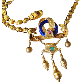 Rare Victorian 14K Gold Necklace Blue Guilloche Enamel Rubies Ruby Emerald Handmade Post Georgian Renaissance Revival Festoon Fringe Antique Drop Arts and Crafts Delicate Jewelry Dainty Pendant Circle Wedding Bridal Heirloom Jewelry 19th Century
