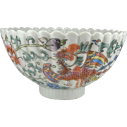 Qing Dynasty Bowl XIANFENG Antique Chinese Bowl Fluted Porcelain Antique Chinese Porcelain Peony Painting Phoenix Bird 19th Century 19th C