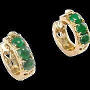 Green Jadeite Earrings 14K jade Earrings Gold Green Jade Hoop Earrings Jade Cabochon Jade Cabachons Vintage Jade Jewelry Natural Jade 585 Wedding Bridal Anniversary Dainty Delicate Huggie Pretty Petite Yellow Gold Earrings Hoops