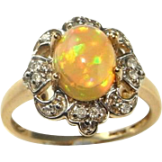 Opal Engagement Ring Gold Opal Diamond Ring Opal Diamond Engagement Ring Vintage Opal Rings Crystal Opal Ring Fire Opal Ring 10K Yellow Gold Wedding One of a Kind