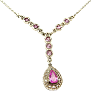 Dainty Sapphire Necklace Pink Sapphire Necklace Dainty Diamond Necklace 14K White Gold Lariat Necklace Gold Sapphire Wedding Necklace Fine Heirloom Jewelry Natural Sapphire Delicate
