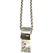 Rainbow Sapphire Pendant Necklace 925 Sterling Silver Unisex Necklace 18K Gold Long Necklace Geometric Necklace Dog Tag Necklace Fine Space Mens Ladies Womens Multicolor Minimalist Artisan