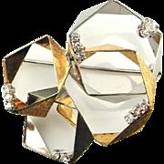 Modernist Gold Modernist Brooch Modernist Pin Diamond Brooch Diamond Pin Space Jewelry Star Trek Jewelry 1960s 1970s 1950s Mid Century 14K Yellow and White Gold Unisex Geometric Architectural Hexagonal Cluster
