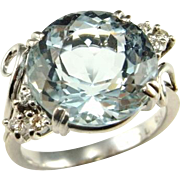Art Deco Aquamarine Ring Aquamarine Diamond Ring Vintage Aquamarine Diamond Engagement Ring 1920s 1930s 1940s 18K White Gold Ring Gatsby