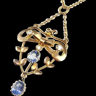 Edwardian Antique Lavalier Necklace Pendant Sapphire Diamond Pendant Sapphire Diamond Necklace Antique Sapphire Necklace Antique Sapphire Pendant 14K Floral Delicate Dainty Drop Wedding Bridal Heirloom One of a Kind Blue Bow Floral Flower