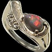 Semi Black Opal Diamond Ring Semi Black Opal Engagement Ring 1950s Modernist Ring Australian Opal Ring Vintage 14K White Gold Fiery Cabochon Precious Opal Ring Estate Vintage Mid Century Modernist Unique One of a Kind