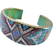 14K Turquoise Bangle Bracelet Inlay Opal Multistone Multigem Kachina Micromosaic Micro Mosaic Designer Signed One of a Kind Unique Retro Vintage Luxury Cuff Gold