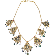 Georgian Diamond Necklace Reversible 18th century Mogul Mughal Necklace Diamond Rock Crystal Emerald Natural Pearl Enameled 18K 22K yellow gold necklace Antique Festoon Fringe Pendant Tassle Tassel Heirloom Jewelry 22K and 18K Gold