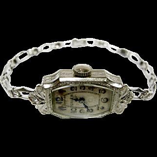 Gruen Art Deco 14 Karat White Gold & Diamond Lady's Watch