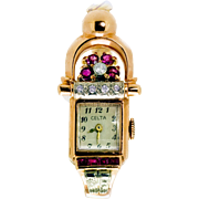 Vintage Retro Rose Gold Diamond and Ruby Celta Ladies Watch