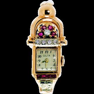 Vintage Retro Rose Gold Diamond and Ruby Celta Ladies Watch