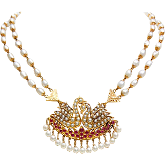 "15.5"" Freshwater Pearl and Synthetic Ruby 18 Karat Gold Necklace"