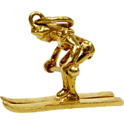 Skier Charm/Pendant Solid 14K Yellow Gold