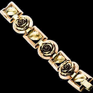 Art Nouveau 14 Karat Solid Gold Two Tone Open Curved Rose and Leaf Bracelet