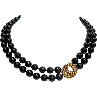 Vintage Tiffany & Co. 18 Karat Yellow Gold and Onyx Bead Necklace
