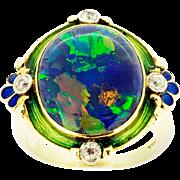 3.70 ct Bezel Set Opal 14 Karat Yellow Gold & Platinum Ring