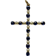 Vintage Sapphire and Pearl 14 Karat Yellow Gold Cross Pendant