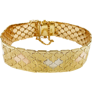 18 Karat Multicolored Gold Italian Snakeskin Design Bracelet