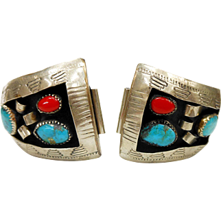 Vintage Mexican Alpaca Silver, Turquoise, and Coral Wrist Watch Band Tips