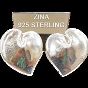 Vintage Zina Sterling Silver Heart Earrings