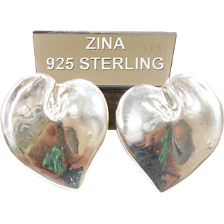 Vintage Zina Sterling Silver Heart Earrings