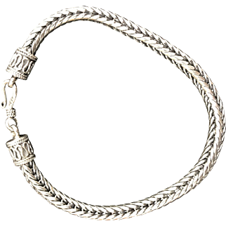 Sterling Silver Square Wheat Chain Bracelet
