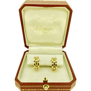 Cartier Maillon Panthere Diamond Hoop Earrings