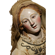 A MUSEUM CLASS Neapolitan Creche Woman in a RARE ORNATE Gold Filigree Elaborated Gown with Glass Eyes.