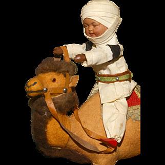 "9"" French Trade Bisque Head Algerian Camel Rider"