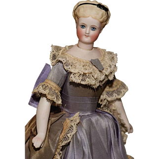 """10.5"""" Cabinet Size Swivel Neck Parian Lady in Elaborate Fashion Gown"""