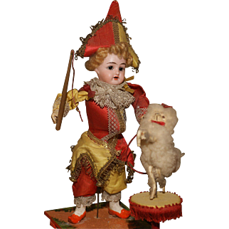 All Original French Style Mechanical Pull Toy Polichinelle with 'Performing Poodle'