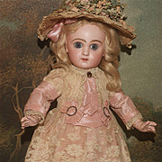 "14"" Petit 'Size 5' Closed Mouth Tête Jumeau in Pink Silk and Lace plus Antique Shoes ."