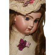 "A Romantic 26""  Closed Mouth Tête Jumeau with Blue Paper Weight Eyes in Period Attire"