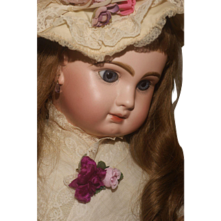 """A Romantic 26""""  Closed Mouth Tête Jumeau with Blue Paper Weight Eyes in Period Attire"""